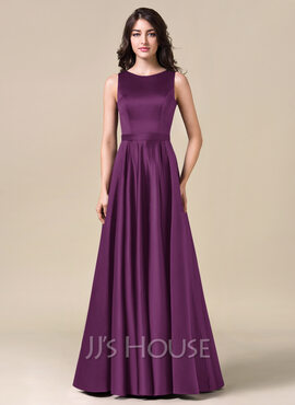 A-Line/Princess Scoop Neck Floor-Length Satin Bridesmaid Dress (007057728)