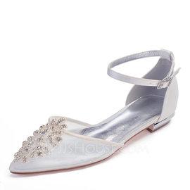 Femmes Mesh Talon plat Bout fermé Chaussures plates avec Cristal