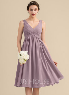 Empire V-neck Knee-Length Chiffon Bridesmaid Dress With Cascading Ruffles (266196025)