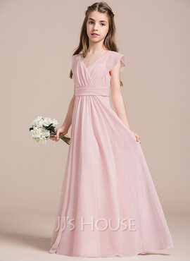 A-Line V-neck Floor-Length Chiffon Junior Bridesmaid Dress With Ruffle (009087906)