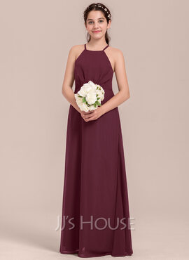 A-Line Square Neckline Floor-Length Chiffon Junior Bridesmaid Dress With Ruffle (009130634)