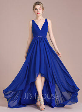 A-Line/Princess V-neck Asymmetrical Chiffon Bridesmaid Dress With Ruffle Beading Sequins (007105582)