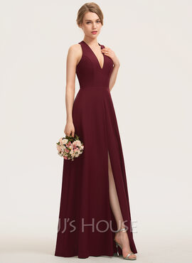 A-Line V-neck Floor-Length Stretch Crepe Bridesmaid Dress With Split Front (007190676)