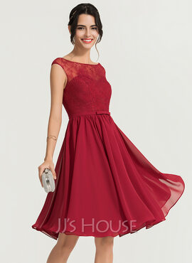 A-Line Scoop Neck Knee-Length Chiffon Cocktail Dress (016170841)