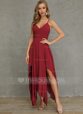 Polyester/Cotton Blends With Stitching Maxi/Asymmetrical Dress