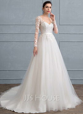 Ball-Gown V-neck Court Train Tulle Lace Wedding Dress With Sequins (002111942)