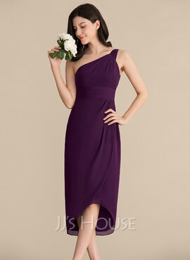 Sheath/Column One-Shoulder Asymmetrical Chiffon Cocktail Dress With Ruffle (016192789)
