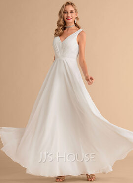 A-Line V-neck Floor-Length Chiffon Wedding Dress With Ruffle (002215645)