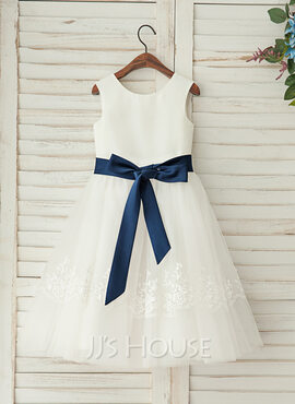 A-Line/Princess Tea-length Flower Girl Dress - Satin/Lace Sleeveless Scoop Neck With Sash (010122613)