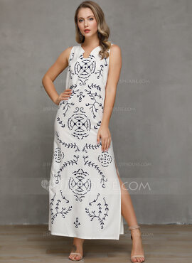 Polyester With Print/Slit Maxi Dress (199228950)