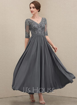 A-Line V-neck Ankle-Length Chiffon Lace Evening Dress (017221865)