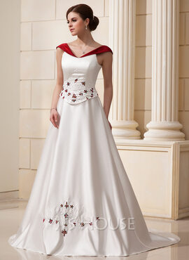 Ball-Gown Off-the-Shoulder Chapel Train Satin Wedding Dress With Beading Flower(s)
