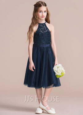A-Line/Princess Scoop Neck Tea-Length Tulle Junior Bridesmaid Dress With Beading Sequins (009095092)