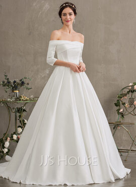 Duchesse-Linie/Princess Off-the-Schulter Hof-schleppe Satin Brautkleid (002187041)