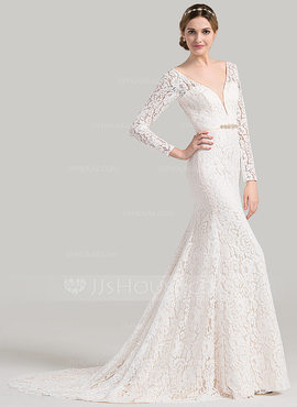 Trumpet/Mermaid V-neck Court Train Lace Wedding Dress With Beading (002084726)