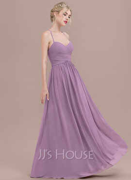 A-Line Sweetheart Floor-Length Chiffon Prom Dresses With Ruffle (018125027)
