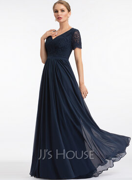 A-Line V-neck Floor-Length Chiffon Evening Dress (017198652)