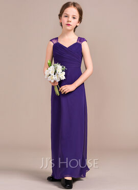 Sheath/Column V-neck Floor-Length Chiffon Junior Bridesmaid Dress With Ruffle (009081142)