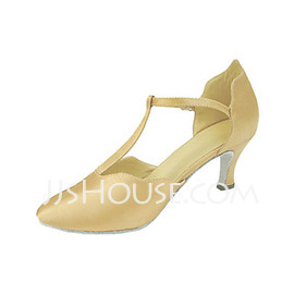 Women's Satin Heels Pumps Ballroom With T-Strap Dance Shoes (053013229)