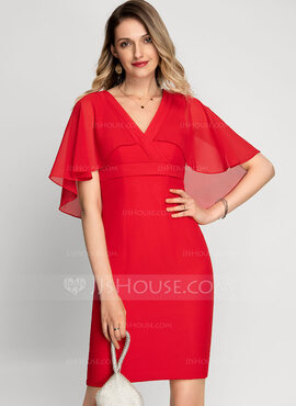 Sheath/Column V-neck Knee-Length Chiffon Cocktail Dress (016212866)