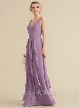 A-Line/Princess V-neck Floor-Length Chiffon Bridesmaid Dress With Cascading Ruffles (007144754)