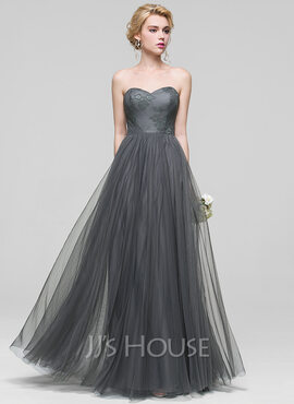 A-Line/Princess Sweetheart Floor-Length Tulle Bridesmaid Dress With Lace (007090193)