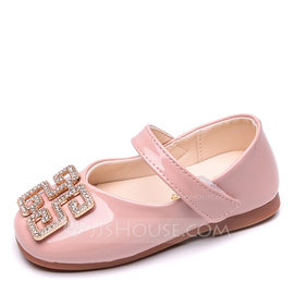 Girl's Round Toe Closed Toe Leatherette Flat Heel Flats Flower Girl Shoes With Crystal (207207339)