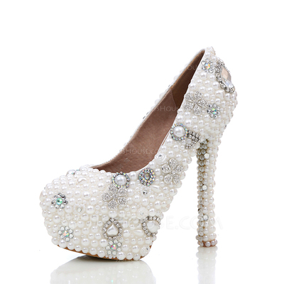 Women's Real Leather Stiletto Heel Closed Toe Platform Pumps With Imitation Pearl Rhinestone