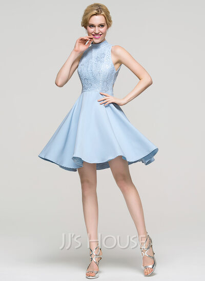 A Line Princess High Neck Short Mini Stretch Crepe Homecoming Dress