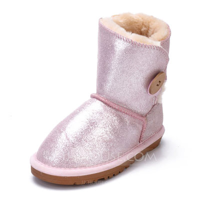 Girl's Real Leather Flat Heel Round Toe Boots With Button