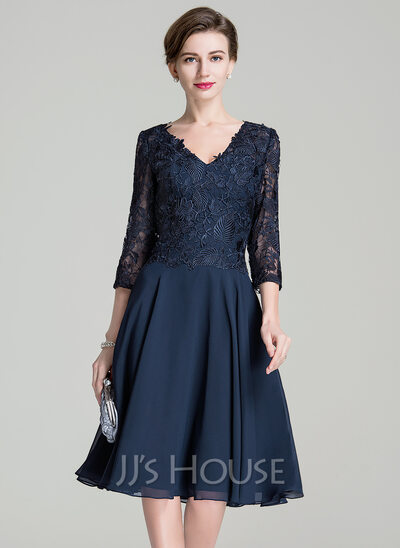 A-Line V-neck Knee-Length Chiffon Lace Mother of the Bride Dress