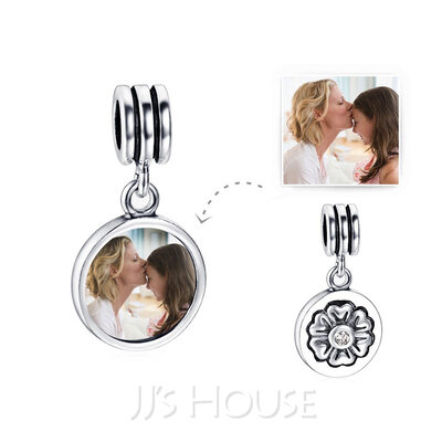 Custom Photo Dangle Charms With Petal - Valentines Gifts
