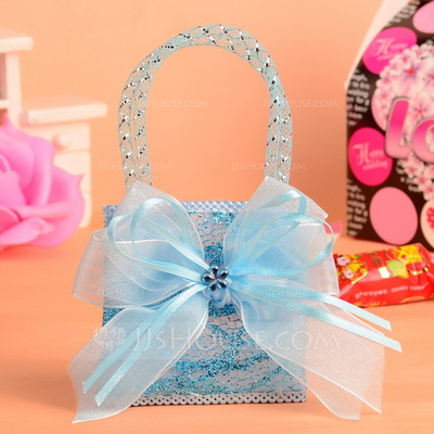 Classic Handbag shaped Nonwoven Fabric Favor Bags With Ribbons (Set of 12)