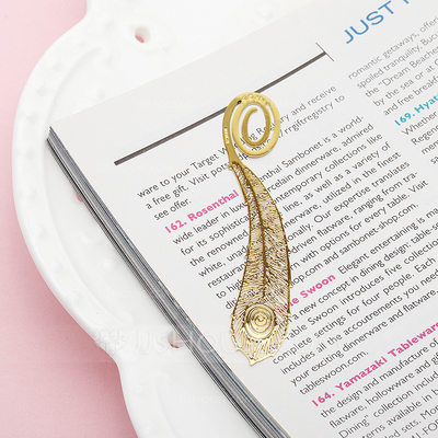 Peacock Feather Zinc Alloy Bookmarks