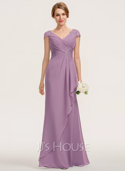 A-Line V-neck Floor-Length Chiffon Lace Bridesmaid Dress Wit...