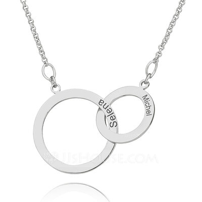 Christmas Gifts For Her - Custom Sterling Silver Cross Circle Two Engraved Necklace Circle Necklace