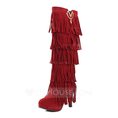 Leatherette Chunky Heel Knee High Boots With Tassel shoes