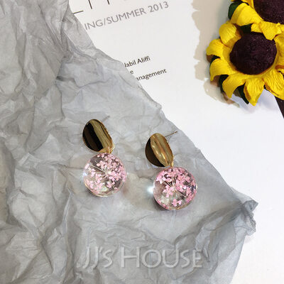 Ladies' Beautiful Alloy/Resin Earrings