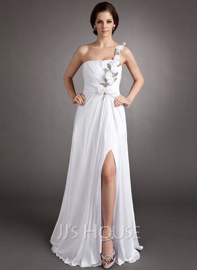 A-Line/Princess One-Shoulder Floor-Length Chiffon Holiday Dress With Ruffle Flower(s) Sequins Split Front