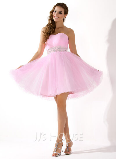 A-Line/Princess Sweetheart Short/Mini Tulle Wedding Dress With Beading Sequins