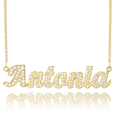 Christmas Gifts For Her - Custom 18k Gold Plated Silver Plate Name Necklace With Diamond