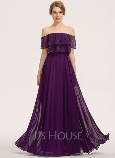 Off-the-Shoulder Floor-Length Chiffon Lace Bridesmaid Dress With Cascading Ruffles