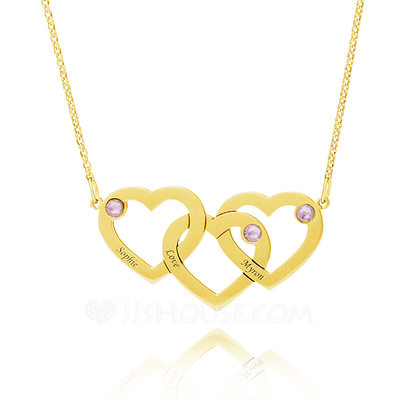 Christmas Gifts For Her - Custom 18k Gold Plated Silver Heart Engraving/Engraved Overlapping Three Birthstone Necklace Engraved Necklace With Kids Names Diamond
