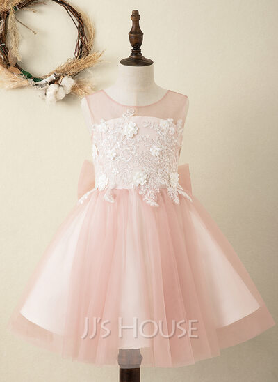 A-Line Knee-length Flower Girl Dress - Satin/Tulle Sleeveless Scoop Neck With Bow(s)/V Back