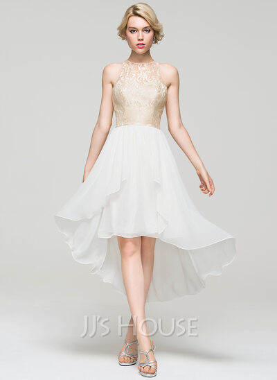 A-Line/Princess Scoop Neck Asymmetrical Chiffon Homecoming Dress With Cascading Ruffles