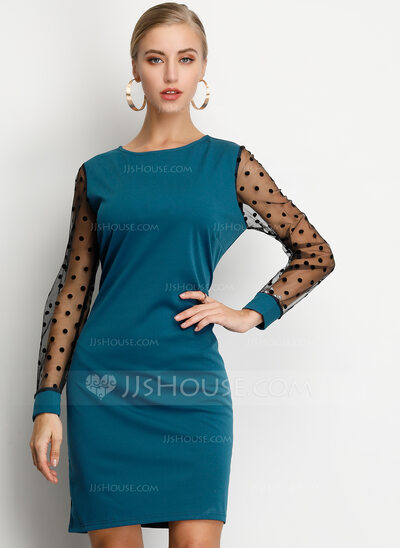 Polyester With PolkaDot Above Knee Dress