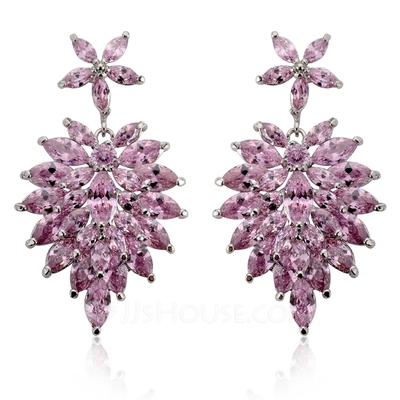 Vintage Zircon/Platinum Plated Women's Earrings