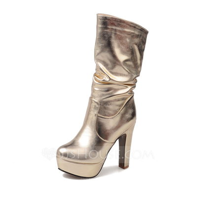Women's Leatherette Stiletto Heel Boots Mid-Calf Boots With Ruffles shoes