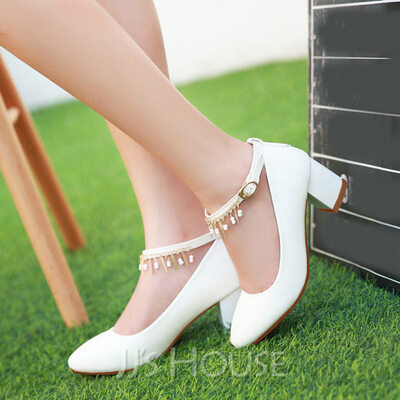 Women's Leatherette Chunky Heel Closed Toe With Buckle