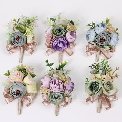 Fascinating Free-Form Cloth Flower Sets - Wrist Corsage/Boutonniere